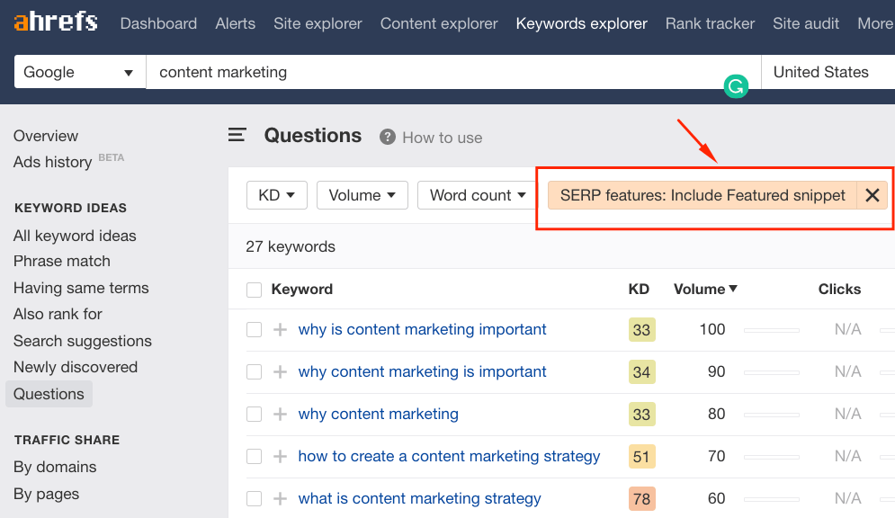 Find snippet opportunities with Ahrefs