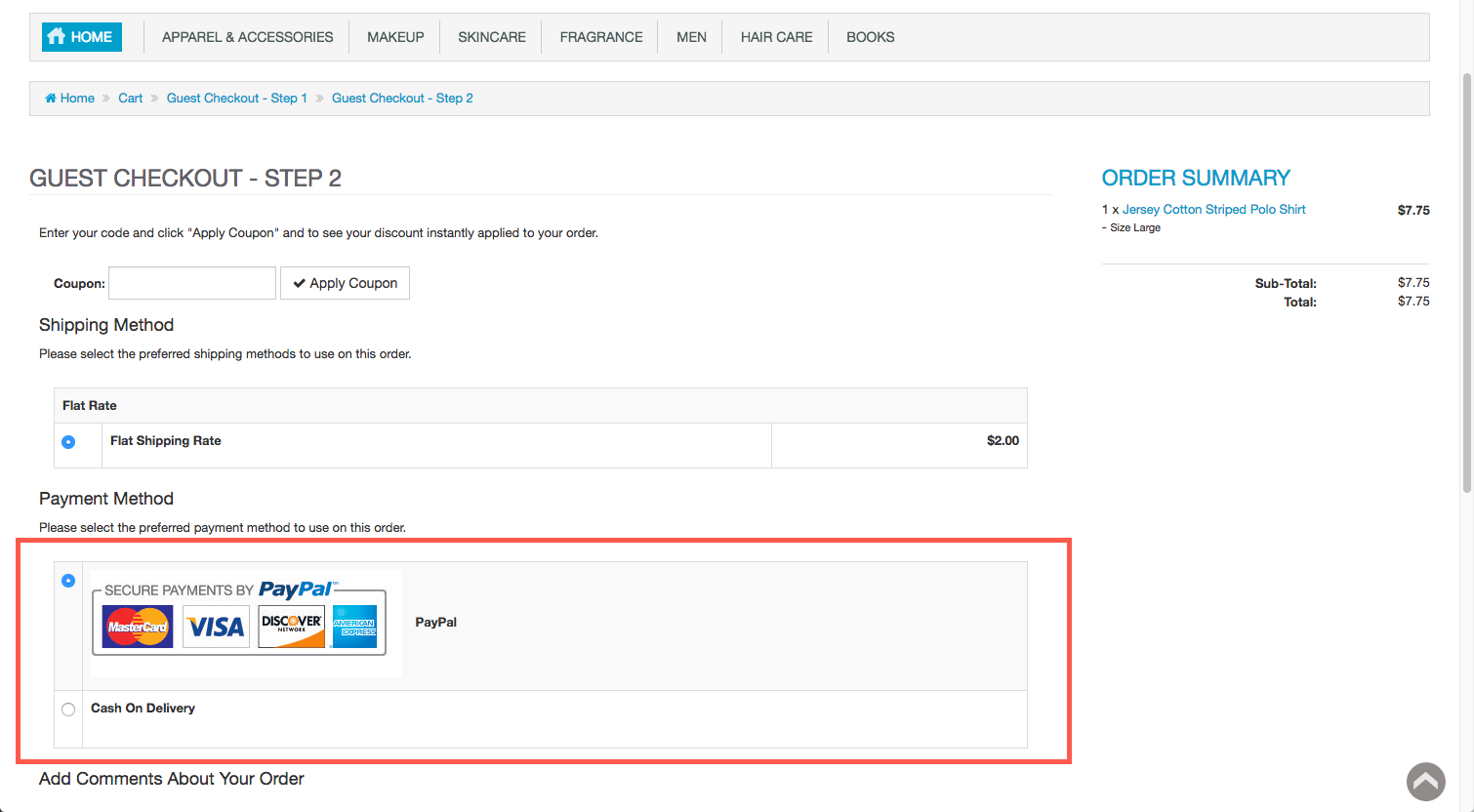 Paypal button in checkout
